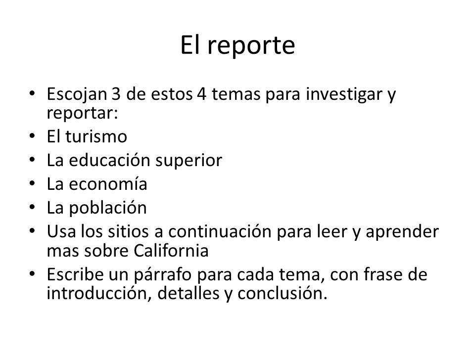 El reporte Escojan 3 de estos 4 temas para investigar y reportar:
