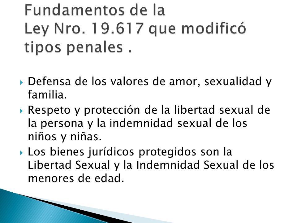 Fundamentos de la Ley Nro. 19.617 que modificó tipos penales .