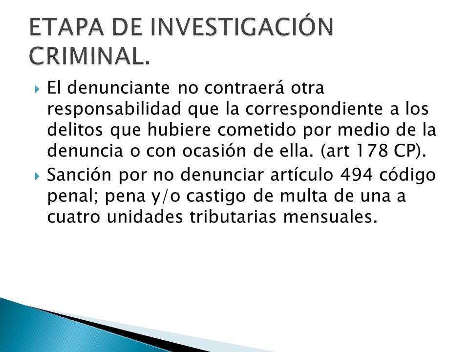 ETAPA DE INVESTIGACIÓN CRIMINAL.