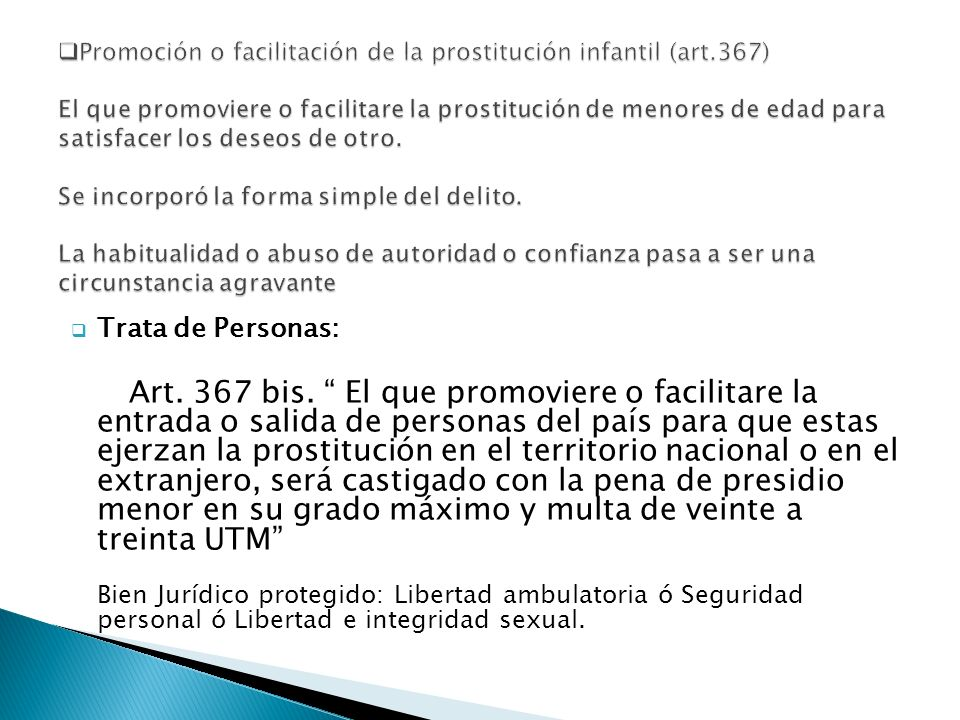 Promoción o facilitación de la prostitución infantil (art