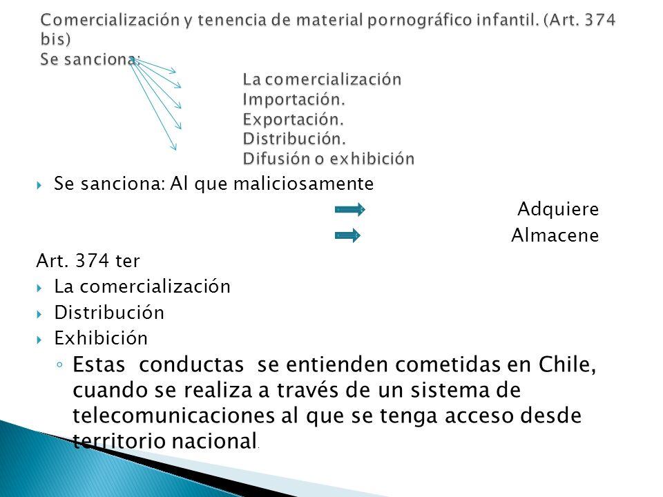 Comercialización y tenencia de material pornográfico infantil. (Art