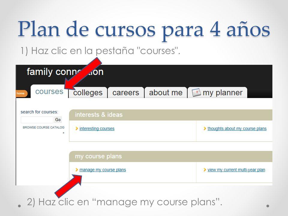 Plan de cursos para 4 años
