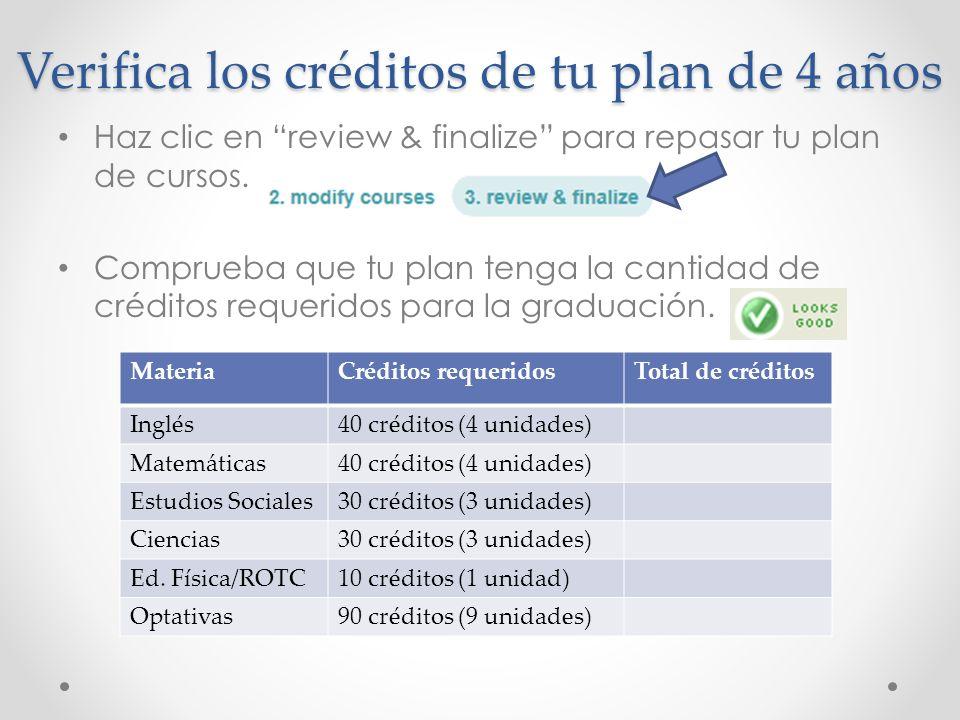 Verifica los créditos de tu plan de 4 años