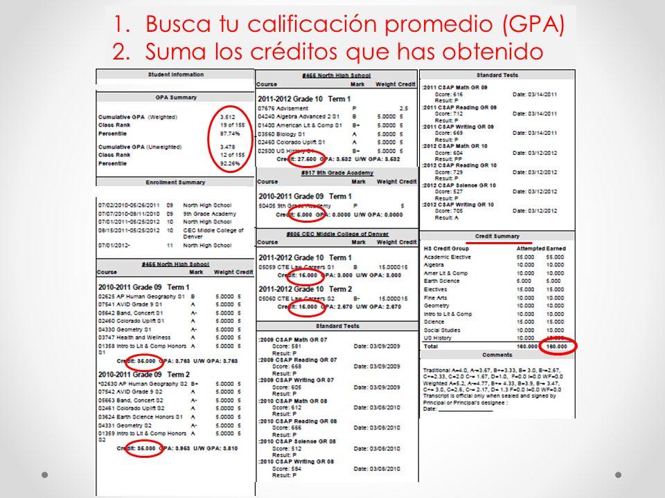 Busca tu calificación promedio (GPA)