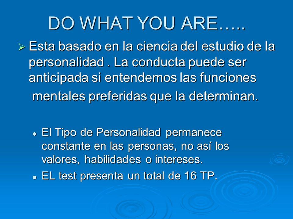 DO WHAT YOU ARE….. Esta basado en la ciencia del estudio de la personalidad . La conducta puede ser anticipada si entendemos las funciones.