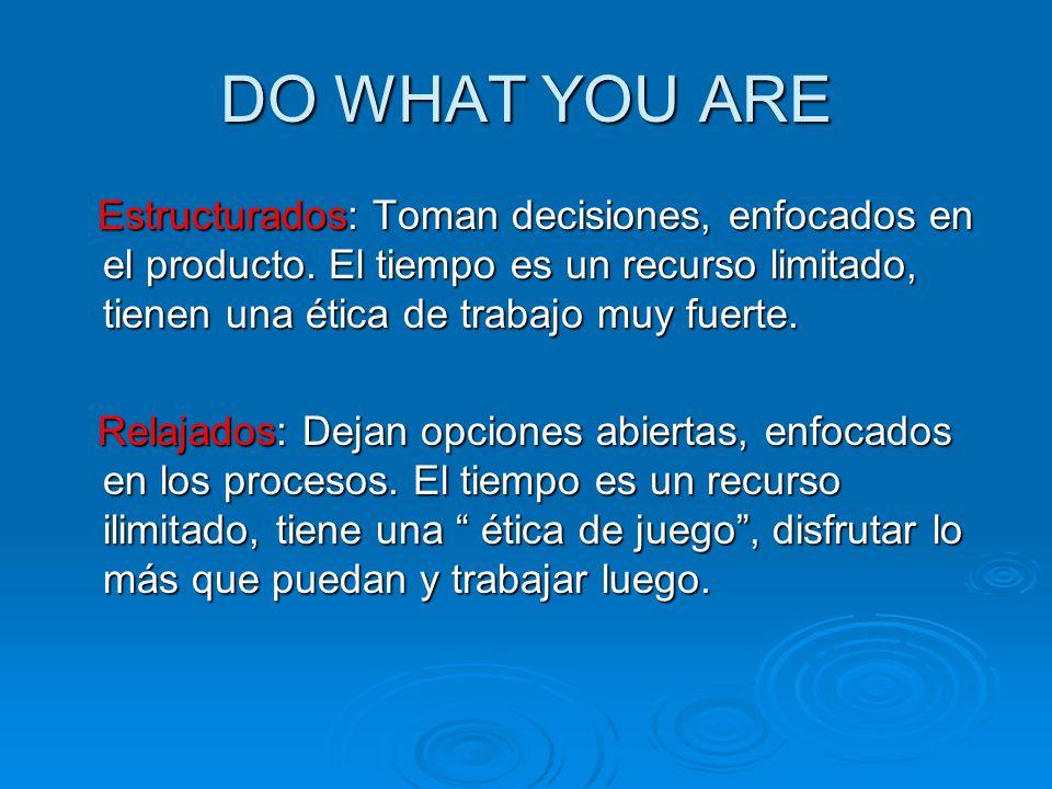 DO WHAT YOU ARE Estructurados: Toman decisiones, enfocados en el producto. El tiempo es un recurso limitado, tienen una ética de trabajo muy fuerte.