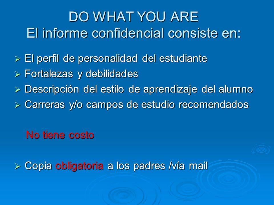 DO WHAT YOU ARE El informe confidencial consiste en: