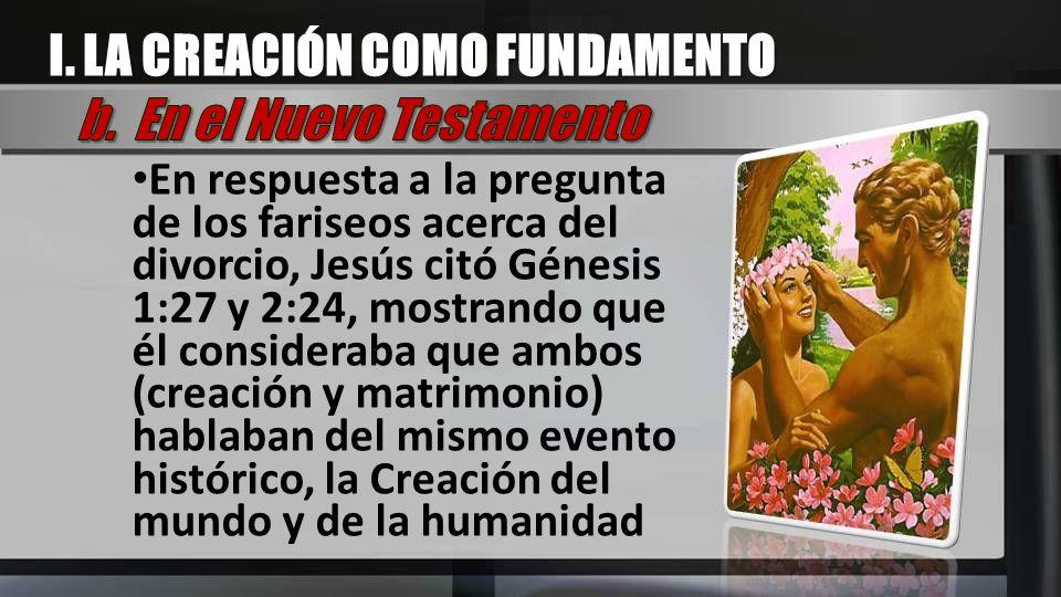 I. LA CREACIÓN COMO FUNDAMENTO b. En el Nuevo Testamento