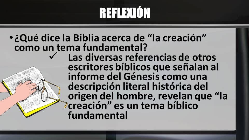 REFLEXIÓN ¿Qué dice la Biblia acerca de la creación como un tema fundamental