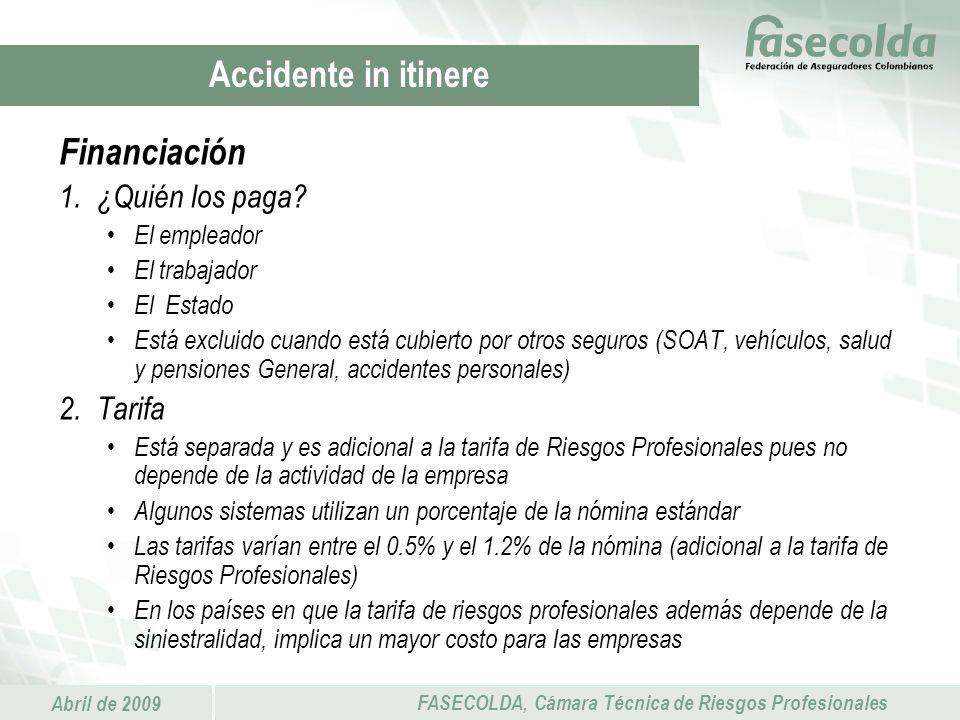 Accidente in itinere Financiación ¿Quién los paga Tarifa El empleador