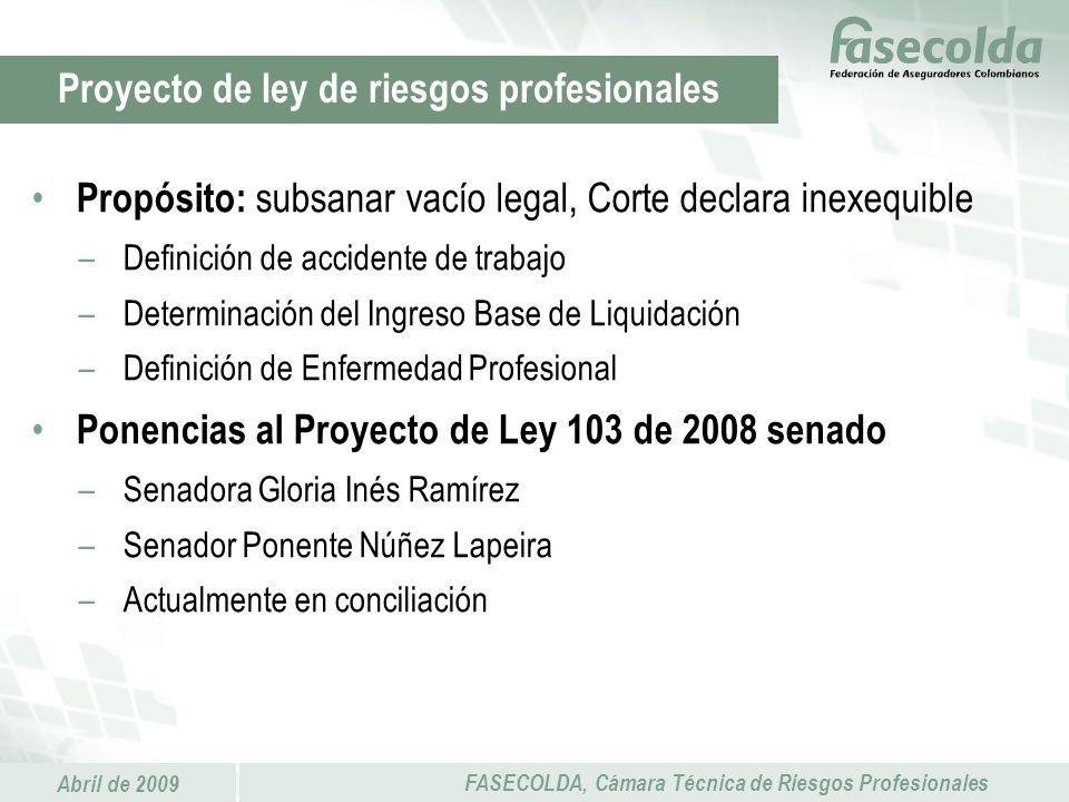 Proyecto de ley de riesgos profesionales