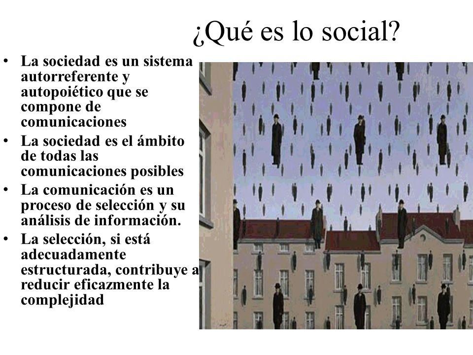 ¿Qué es lo social La sociedad es un sistema autorreferente y autopoiético que se compone de comunicaciones.