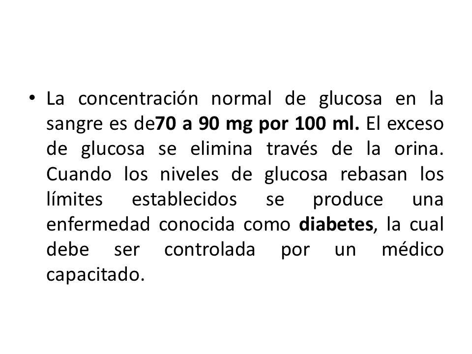 La concentración normal de glucosa en la sangre es de70 a 90 mg por 100 ml. El exceso de glucosa se elimina través de la orina.