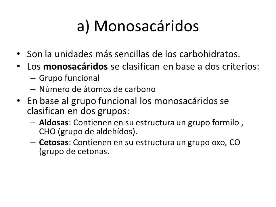 a) Monosacáridos Son la unidades más sencillas de los carbohidratos.