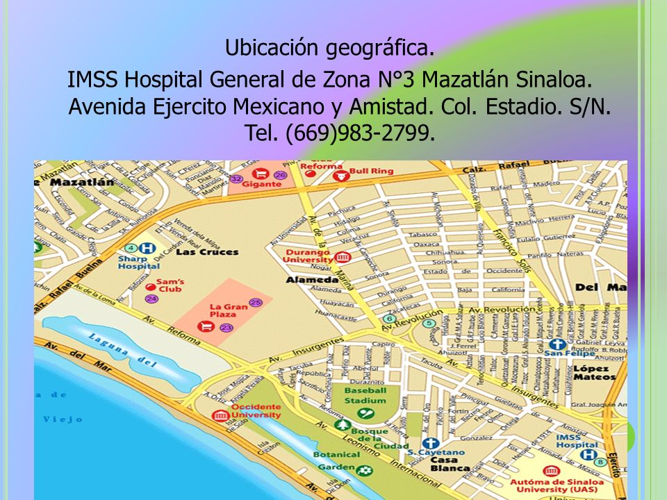 Ubicación geográfica. IMSS Hospital General de Zona N°3 Mazatlán Sinaloa.