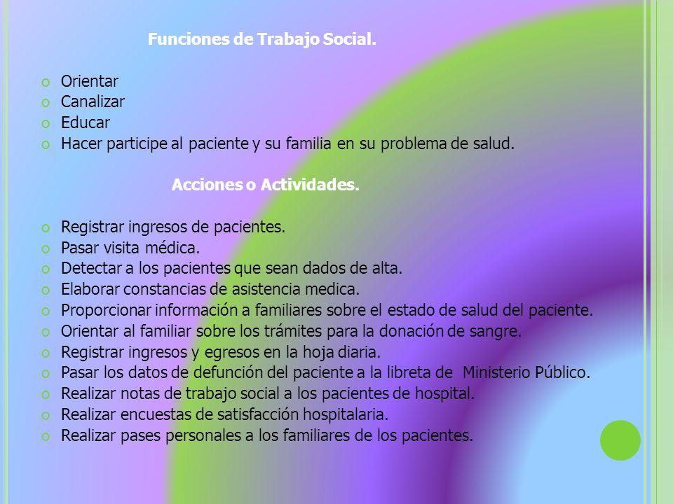 Funciones de Trabajo Social.