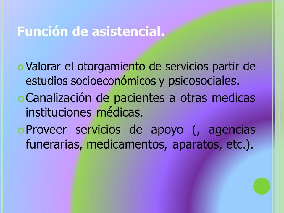 Función de asistencial.