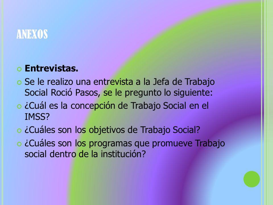 ANEXOS Entrevistas. Se le realizo una entrevista a la Jefa de Trabajo Social Roció Pasos, se le pregunto lo siguiente: