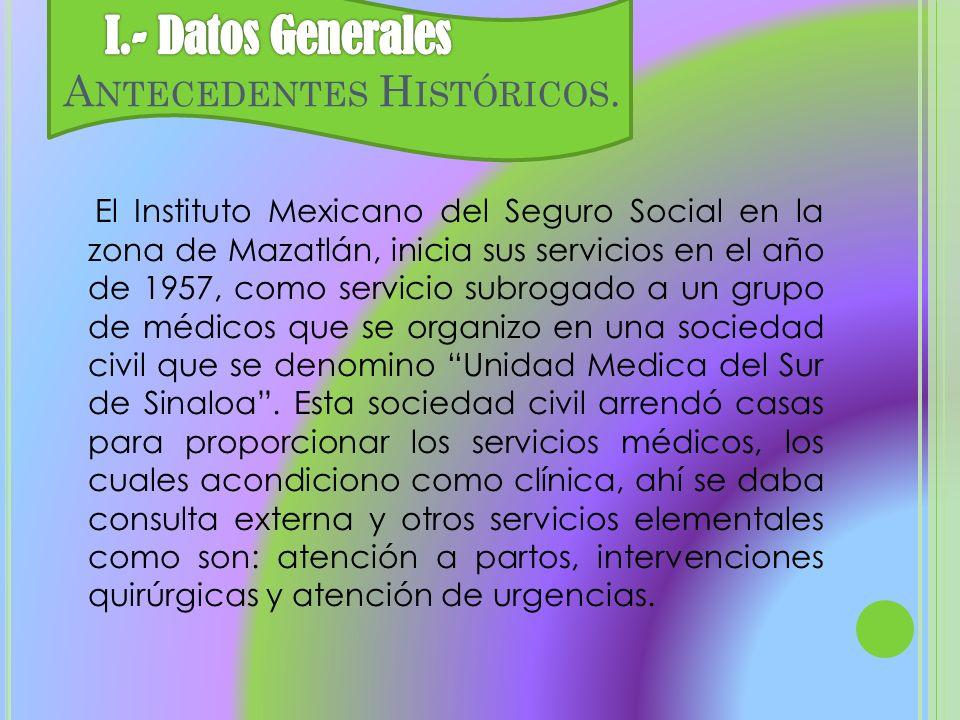 I.- Datos Generales Antecedentes Históricos.