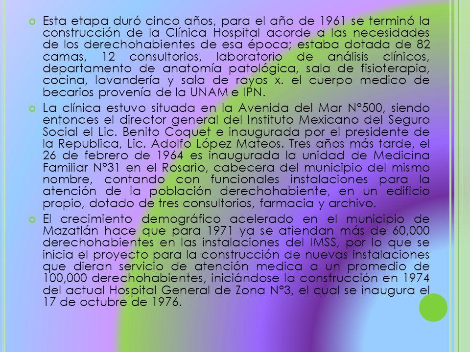 Esta etapa duró cinco años, para el año de 1961 se terminó la construcción de la Clínica Hospital acorde a las necesidades de los derechohabientes de esa época; estaba dotada de 82 camas, 12 consultorios, laboratorio de análisis clínicos, departamento de anatomía patológica, sala de fisioterapia, cocina, lavandería y sala de rayos x. el cuerpo medico de becarios provenía de la UNAM e IPN.