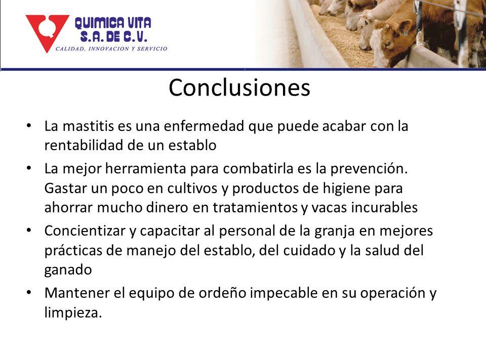 Conclusiones La mastitis es una enfermedad que puede acabar con la rentabilidad de un establo.