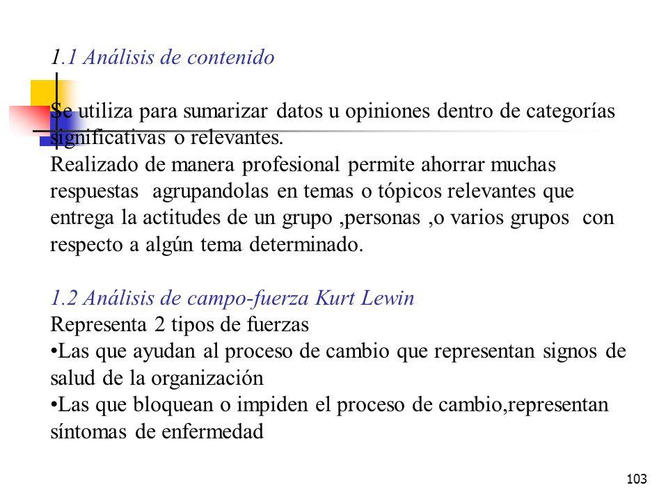 1.1 Análisis de contenido Se utiliza para sumarizar datos u opiniones dentro de categorías significativas o relevantes.