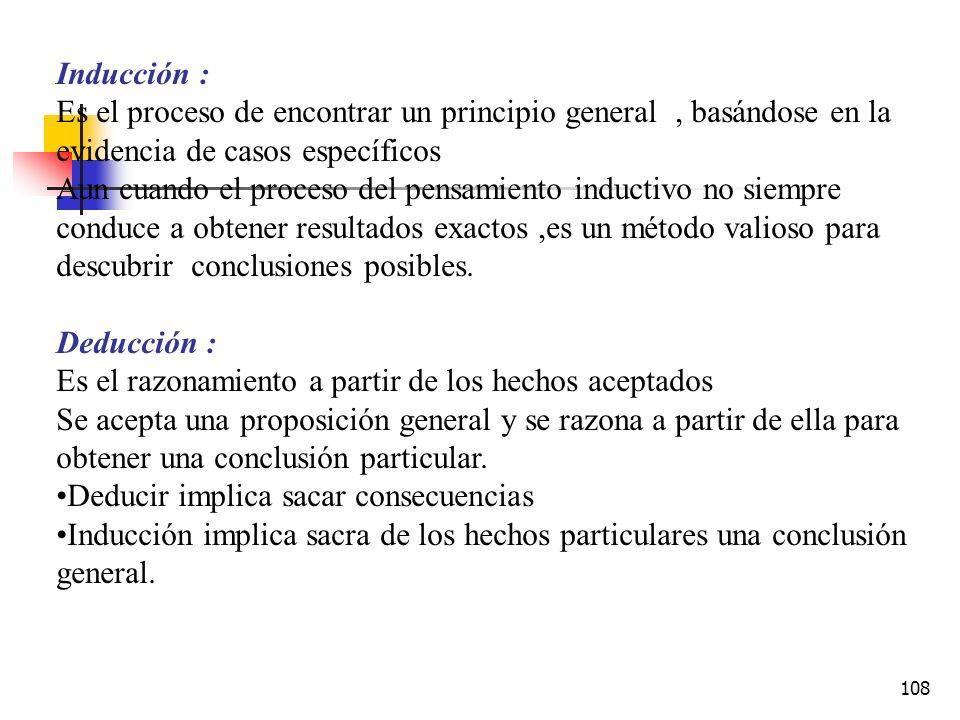 Inducción : Es el proceso de encontrar un principio general , basándose en la evidencia de casos específicos.