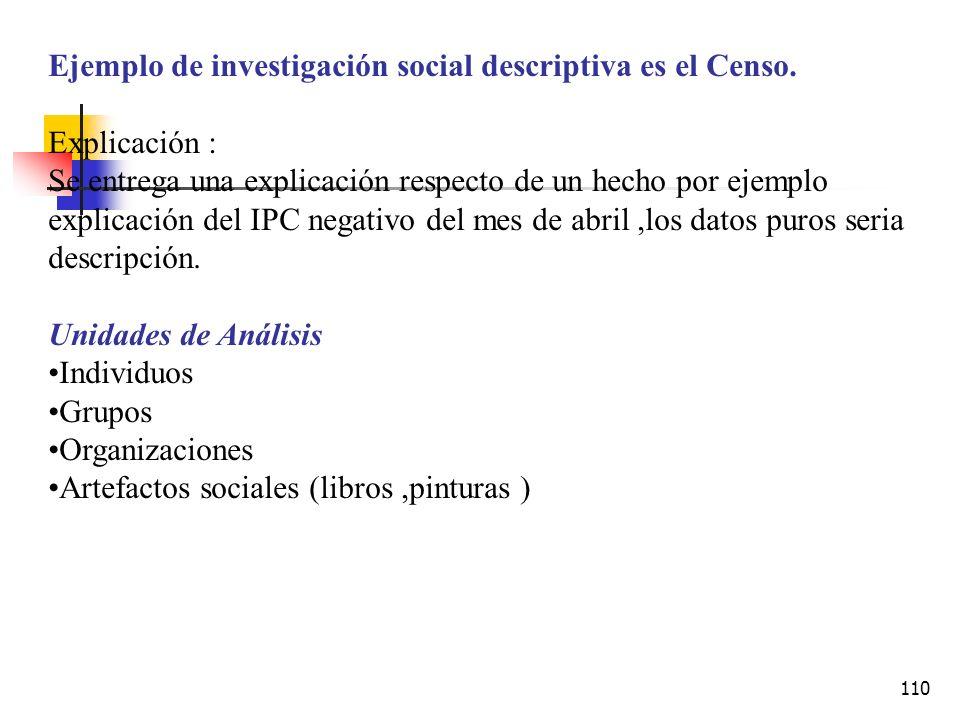 Ejemplo de investigación social descriptiva es el Censo.