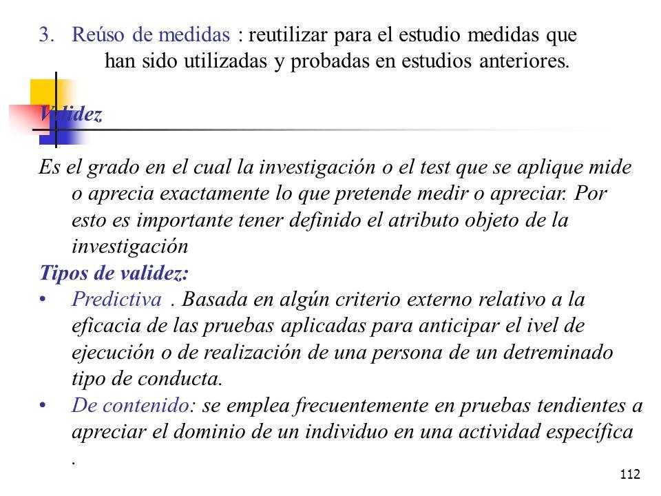 Reúso de medidas : reutilizar para el estudio medidas que