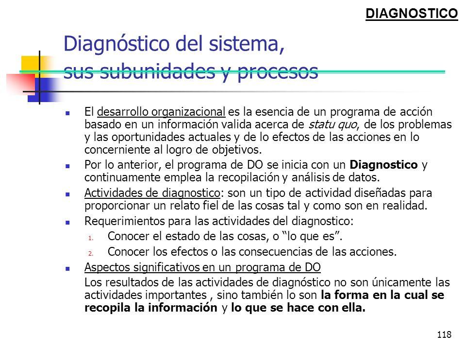 Diagnóstico del sistema, sus subunidades y procesos