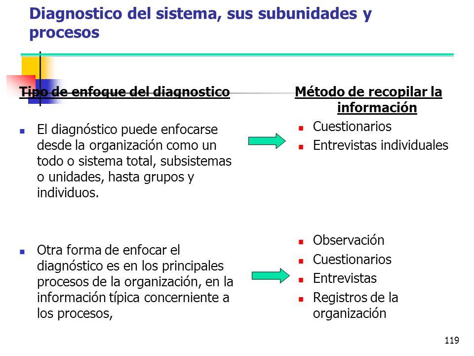 Diagnostico del sistema, sus subunidades y procesos