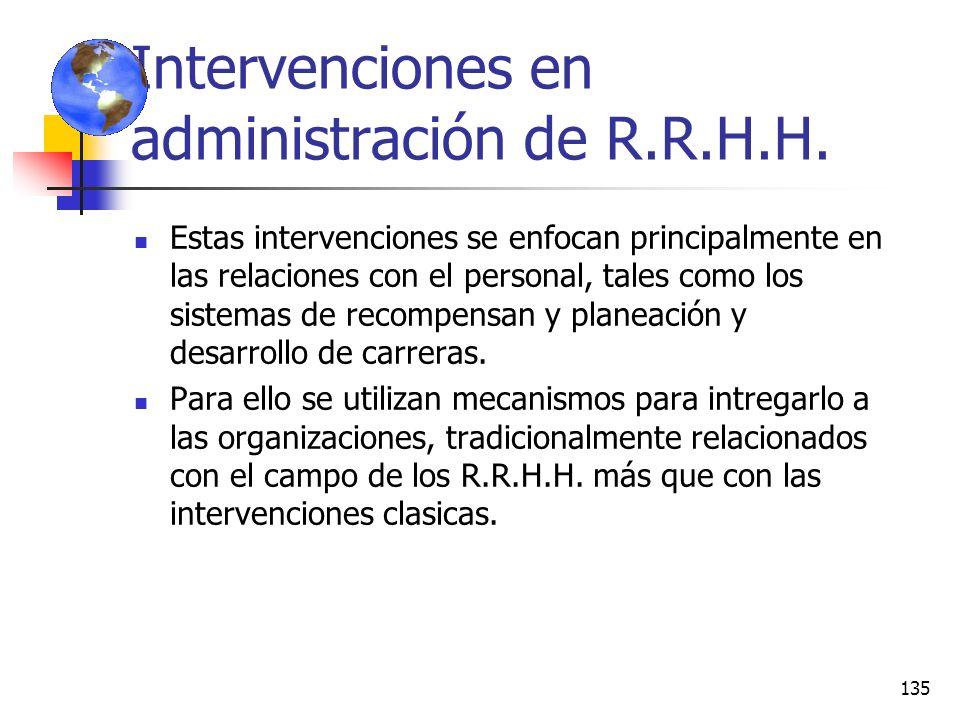 Intervenciones en administración de R.R.H.H.
