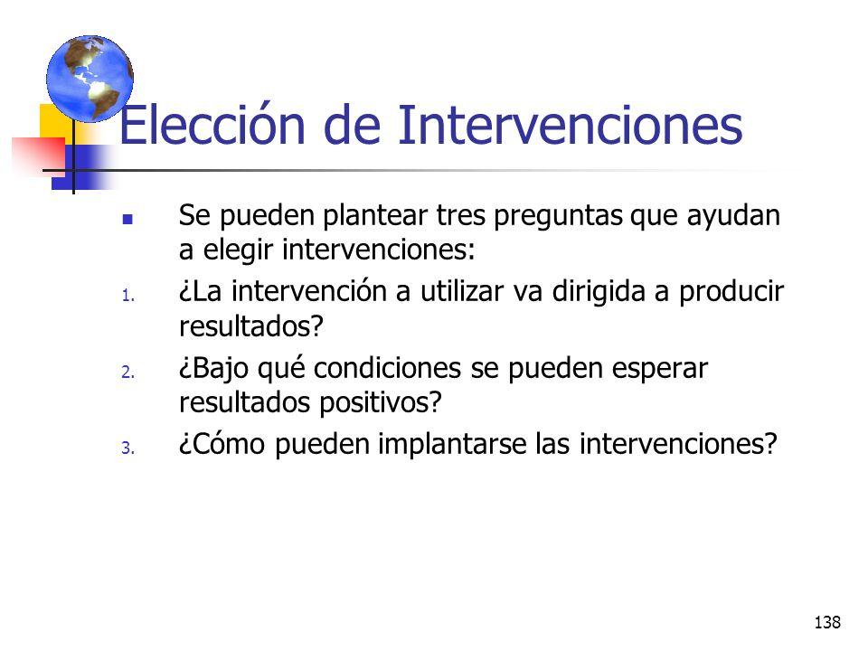 Elección de Intervenciones