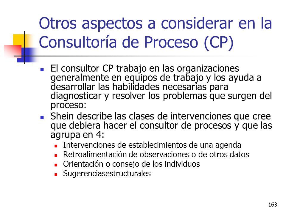 Otros aspectos a considerar en la Consultoría de Proceso (CP)