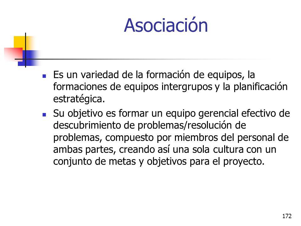 Asociación Es un variedad de la formación de equipos, la formaciones de equipos intergrupos y la planificación estratégica.