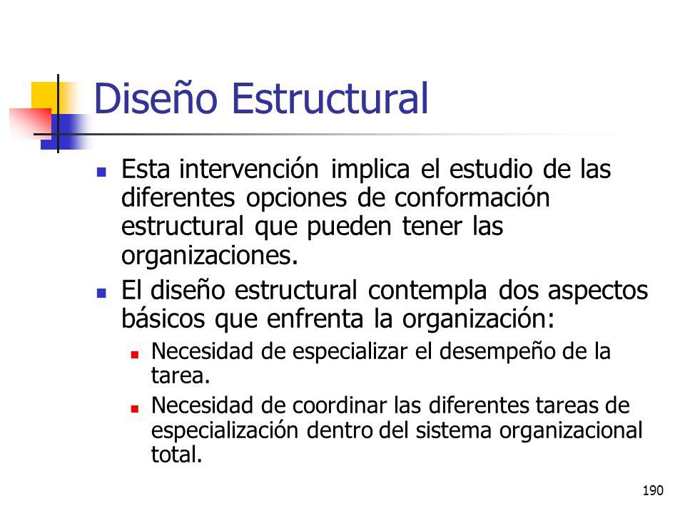 Diseño Estructural Esta intervención implica el estudio de las diferentes opciones de conformación estructural que pueden tener las organizaciones.