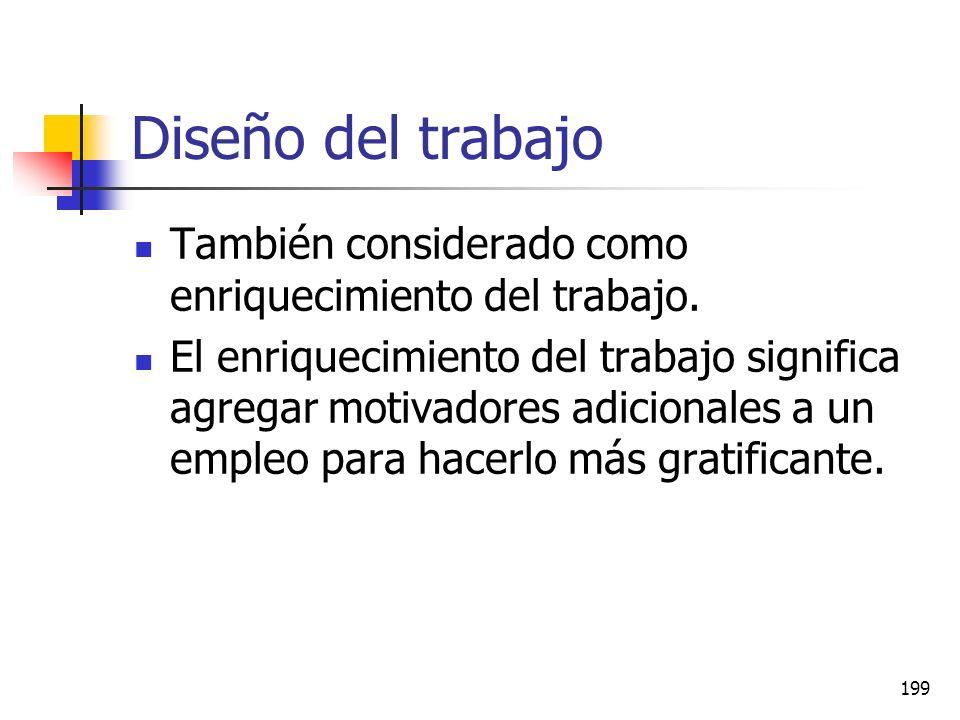 Diseño del trabajo También considerado como enriquecimiento del trabajo.