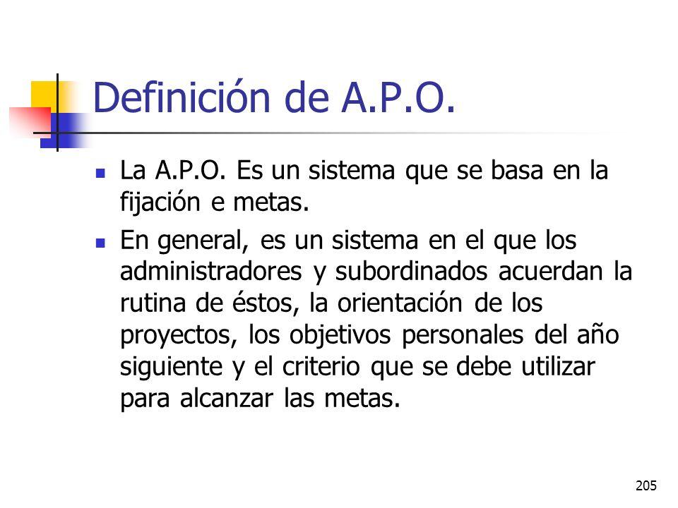 Definición de A.P.O. La A.P.O. Es un sistema que se basa en la fijación e metas.