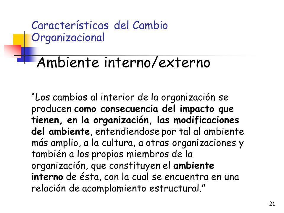 Características del Cambio Organizacional