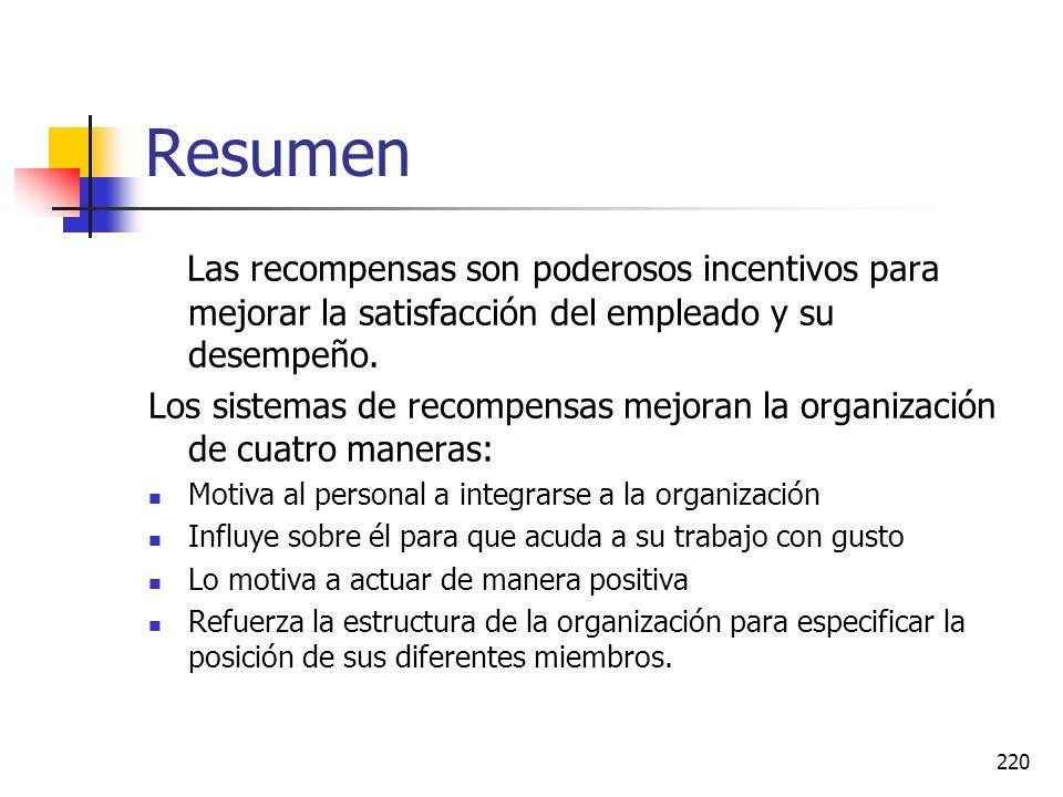 Resumen Las recompensas son poderosos incentivos para mejorar la satisfacción del empleado y su desempeño.