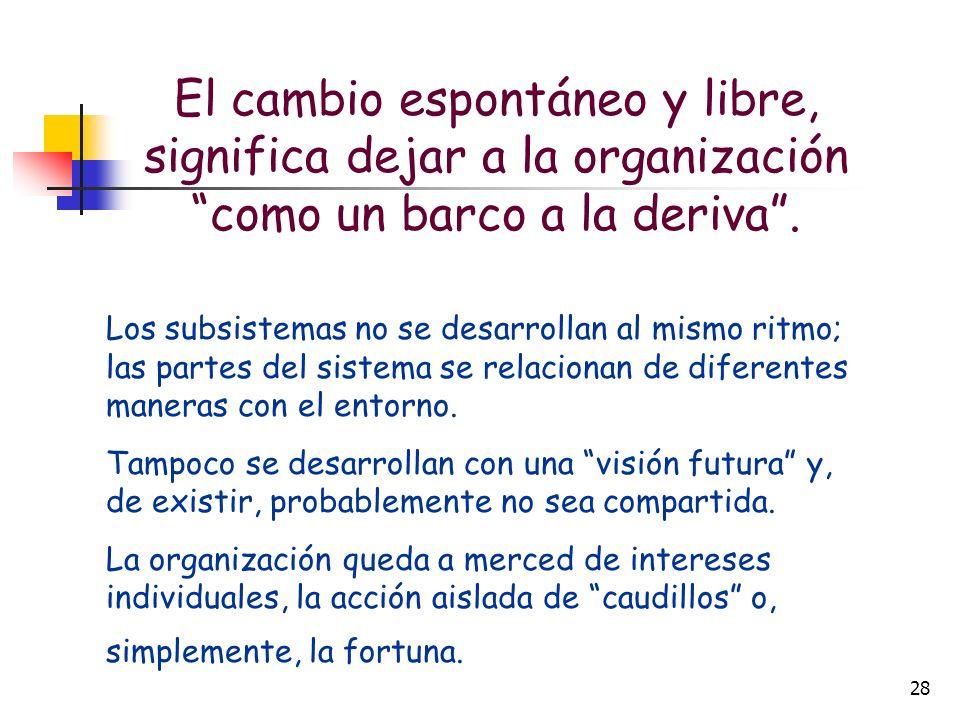 El cambio espontáneo y libre, significa dejar a la organización como un barco a la deriva .