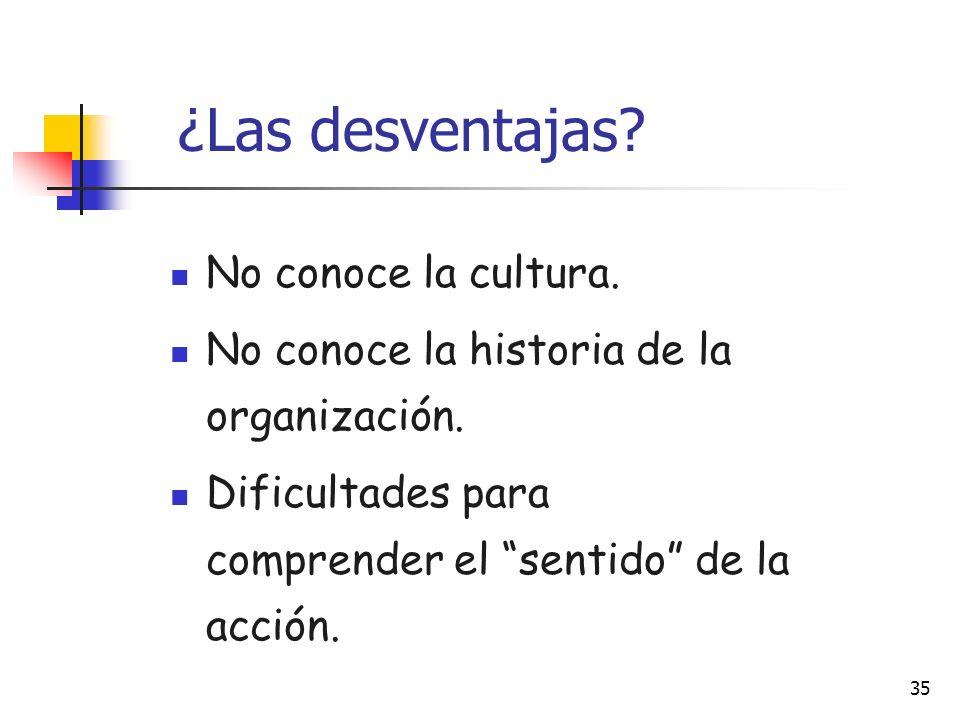 ¿Las desventajas No conoce la cultura.