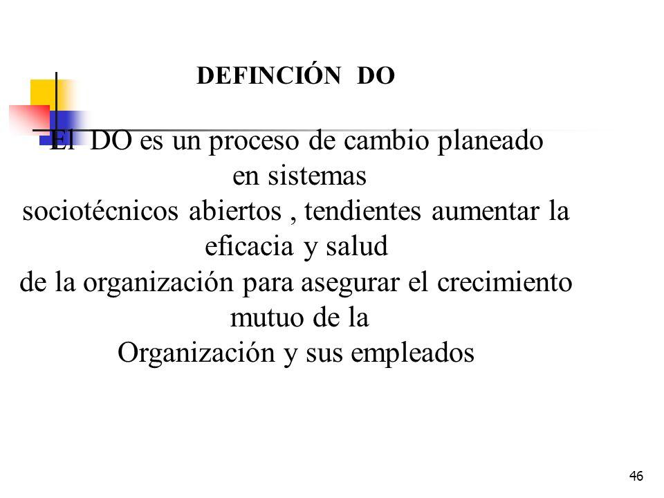 El DO es un proceso de cambio planeado en sistemas