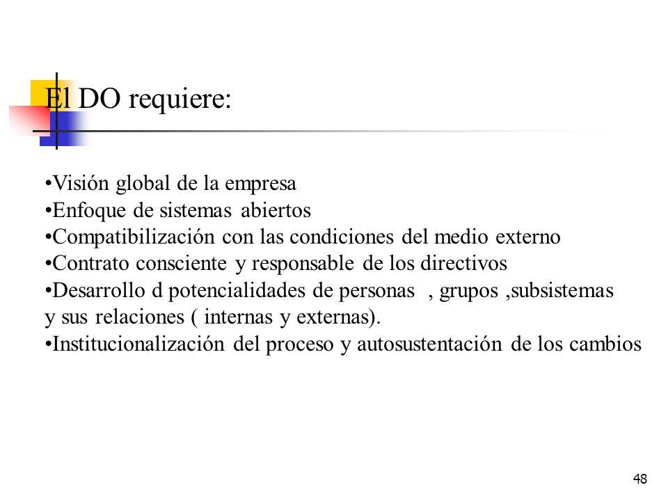 El DO requiere: Visión global de la empresa
