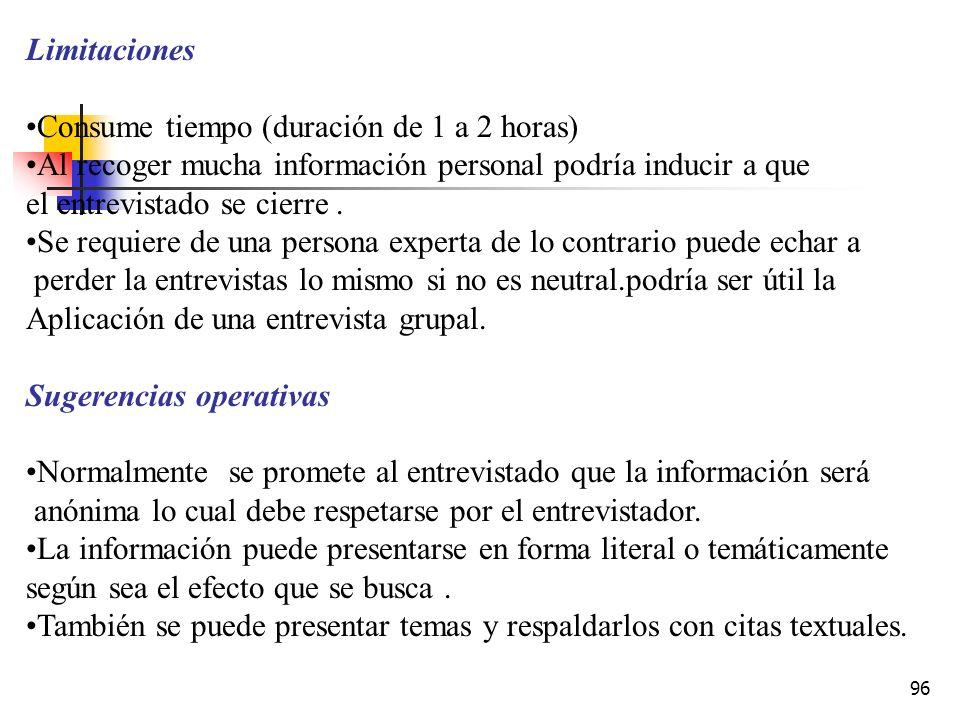 Limitaciones Consume tiempo (duración de 1 a 2 horas) Al recoger mucha información personal podría inducir a que.