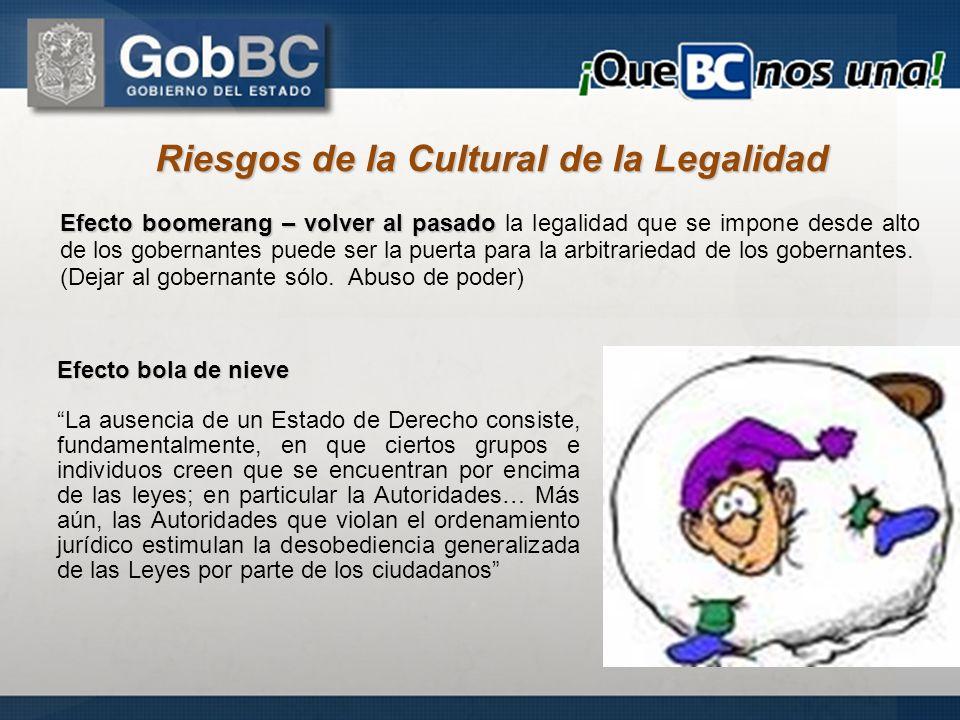 Riesgos de la Cultural de la Legalidad