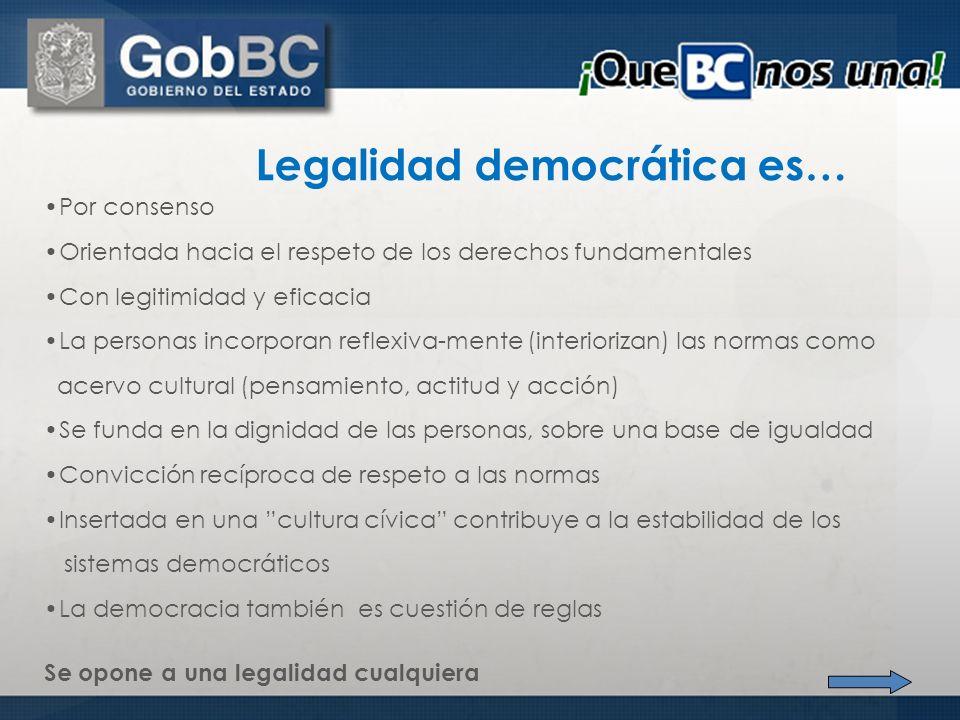 Legalidad democrática es…