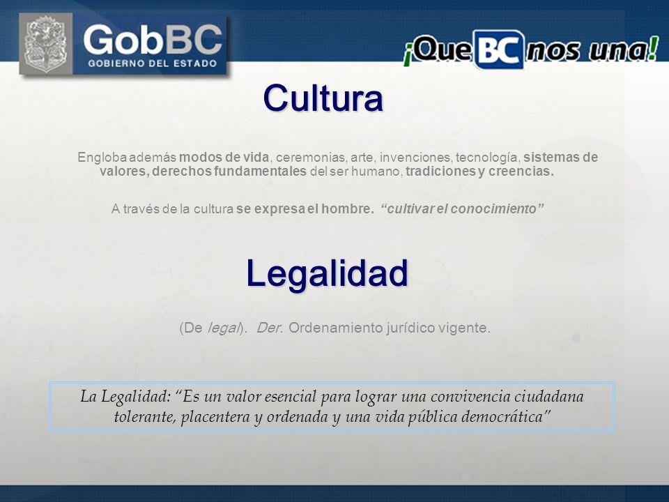 (De legal). Der. Ordenamiento jurídico vigente.