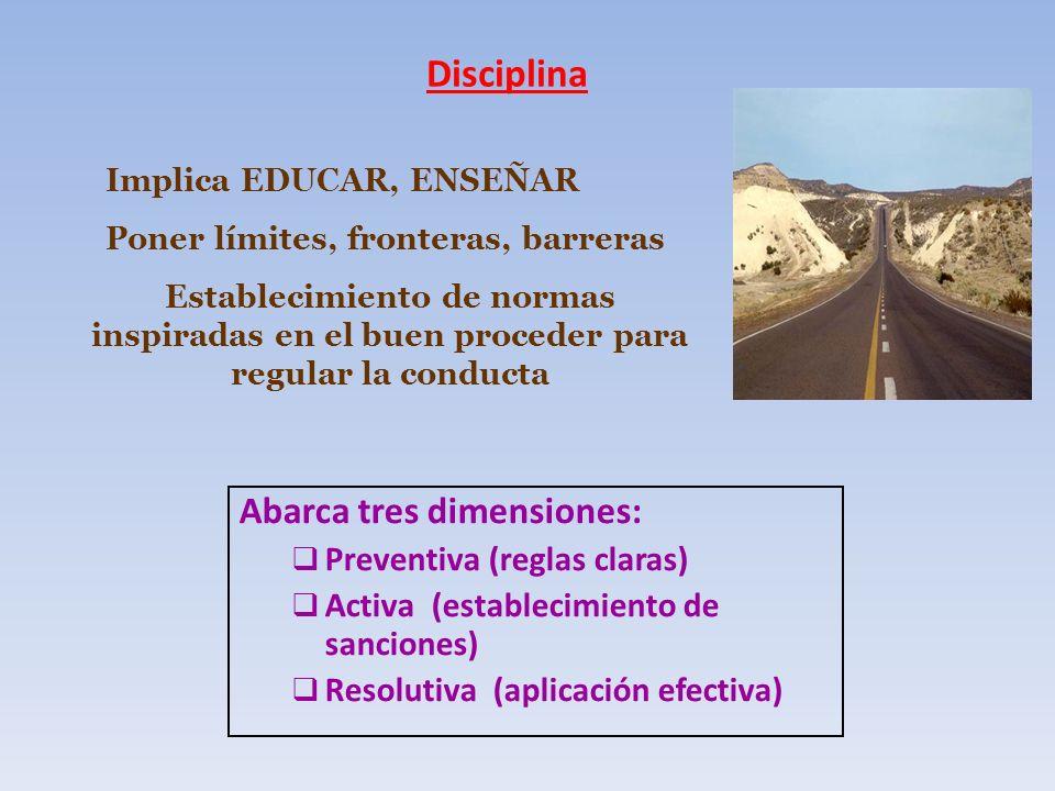 Disciplina Abarca tres dimensiones: Preventiva (reglas claras)
