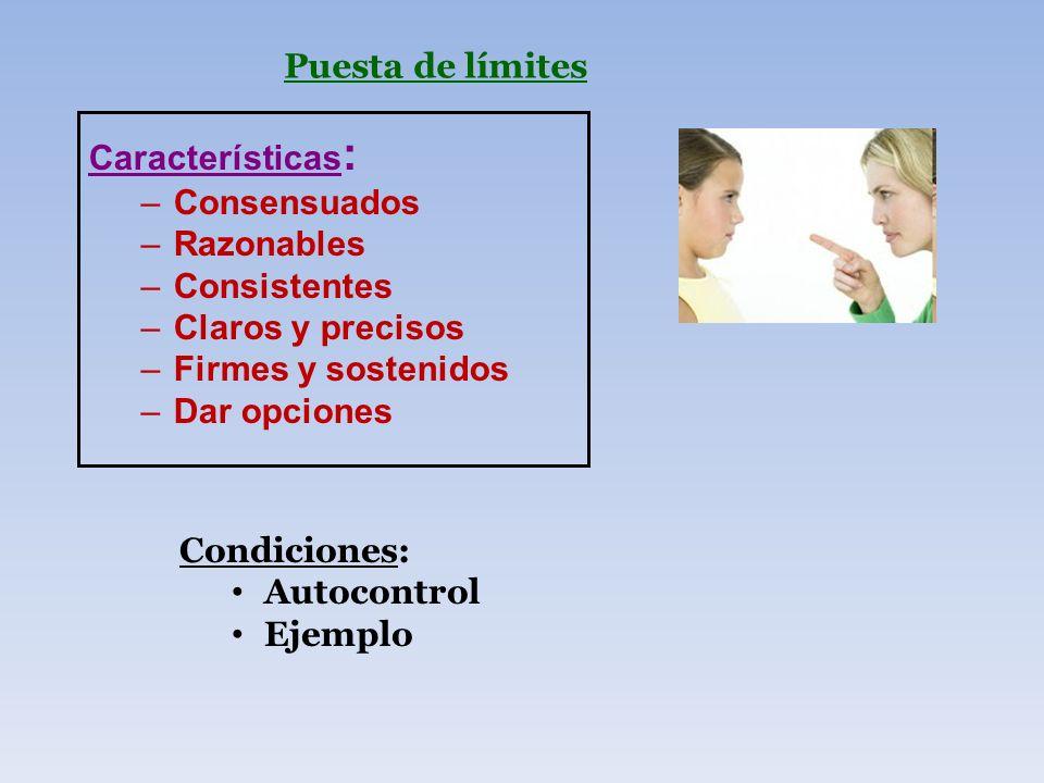 Puesta de límites Características: Consensuados. Razonables. Consistentes. Claros y precisos. Firmes y sostenidos.
